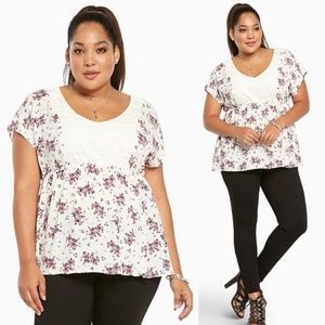 Torrid White Floral Print Gauze Lace Top Size 2X